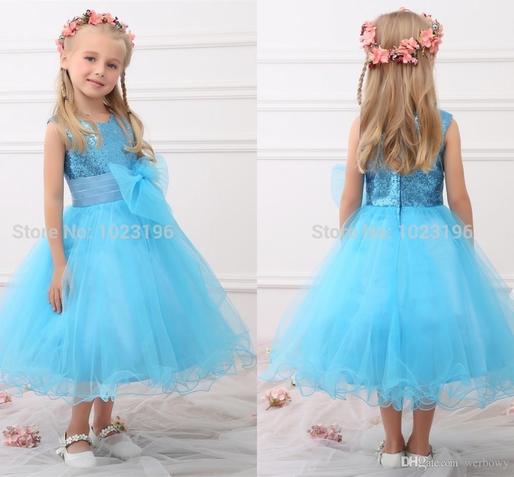 2018 New Real Princess Blue Sequins Flower Girl Dresses Sequins Sash ...