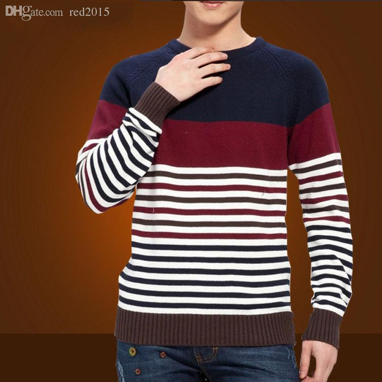 8f116eb5d52a32 2019 Wholesale Mens Striped Sweater Knitting Pattern 2015 New Autumn  Hedging Thick Sweater Men S Round Neck Preppy Style Casual Sweaters Men  From Red2015