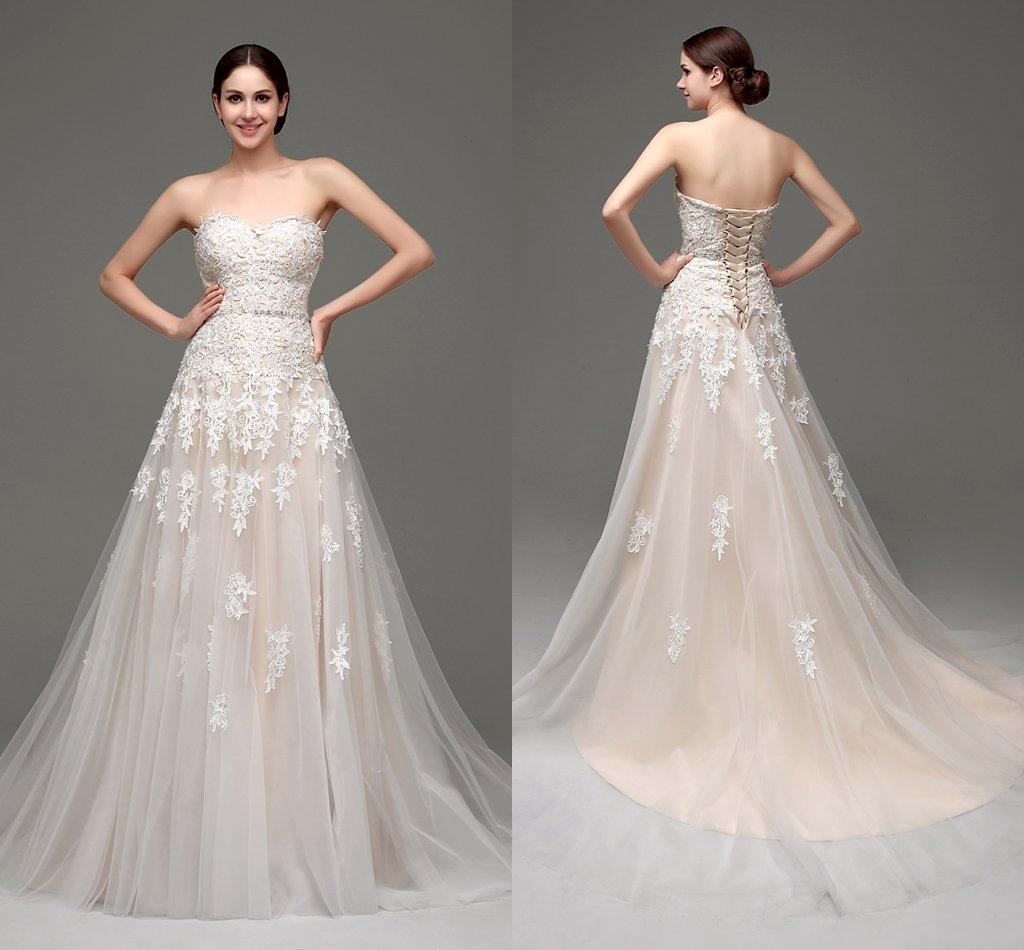 Designer Wedding Gowns Cheap: Discount In Stock Champagne Lace Wedding Dresses Cheap A