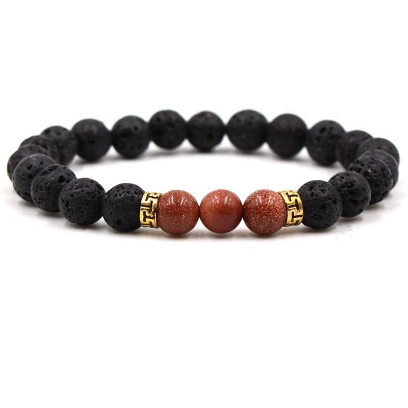 Vairous colors Natural Black Lava Stone Beads Elastic Bracelet Essential Oil Diffuser Bracelet Volcanic Rock Beaded Hand Strings