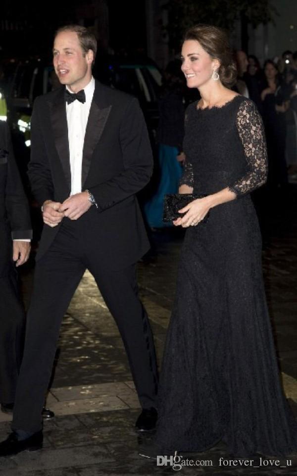 Modest Vintage encaje negro largo formal vestidos de baile Kate Middleton vestidos de noche por encargo Bateau cuello ilusión mangas barato de alta calidad