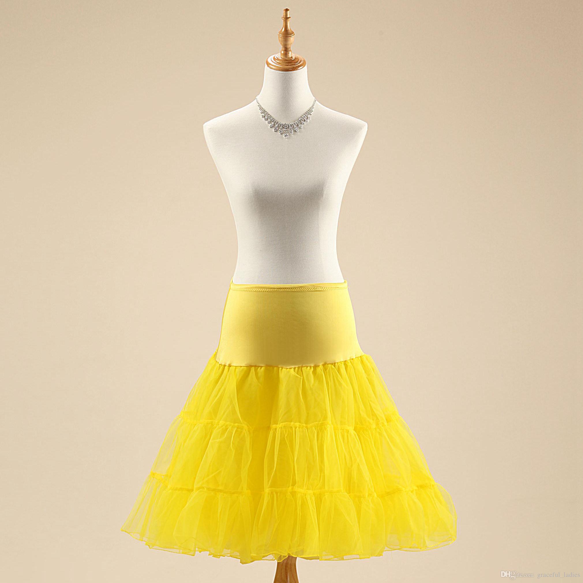 Color Wedding Petticoats Gown Bridal Dress Petticoat 3 Tier Knee