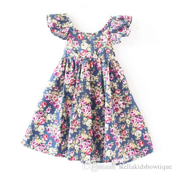VESTIR ropa de niñas Rosa floral vestido de playa niñas lindo bebé verano sin espalda vestido halter niños vintage vestidos de flores