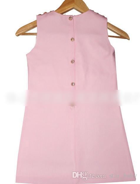 Kız Elbise Elbiseler 2015 Yaz Anne Ve Kızı Aile Giyim Büyük Kız Güzel Gül Çiçek Baskılı Kolsuz Elbise Pembe Mavi I3475