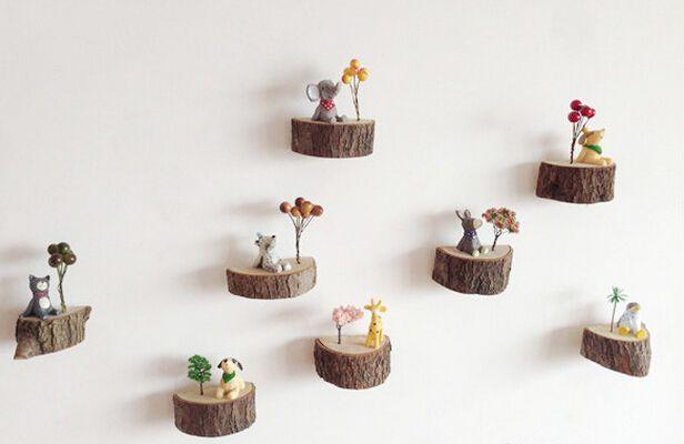 Natural Wood Block Flower Pot Flowers Aniamal Decor