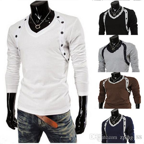 Men Fashion Brand T Shirt 2015 New Full Sleeve Tees Solid Unique ...