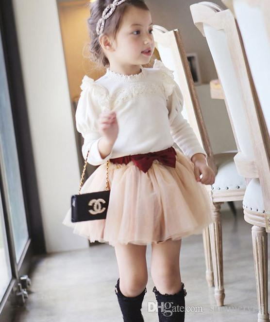 New autumn princess girls t-shirts lace collar puff long sleeves kids tops korean style all-match children top kid clothing A7380