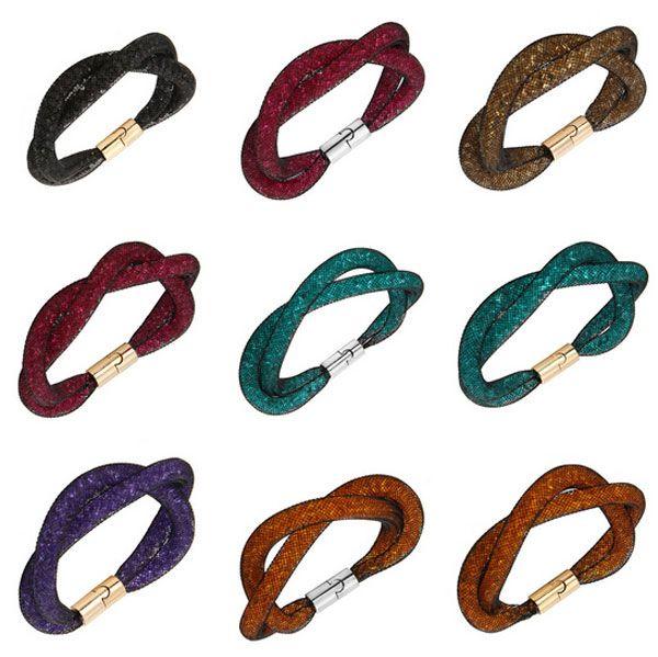 Colorful Crystal Bracelets Fashion Of Swarovski Elements Wrap Wristband Mesh Magnetic Clasp Double Bracelet