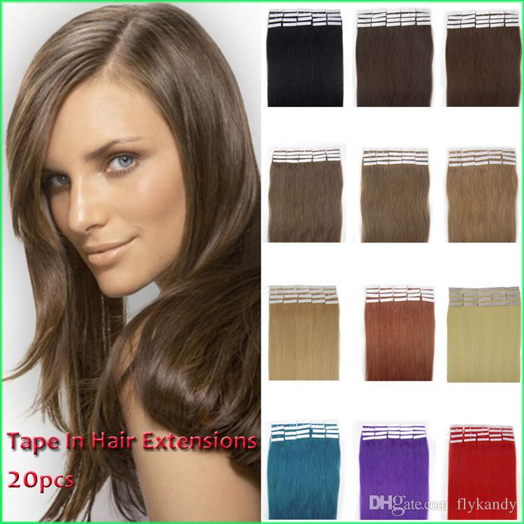 Skin Weft Pu Tape In Human Hair Extensionshand Tied Silky Straight