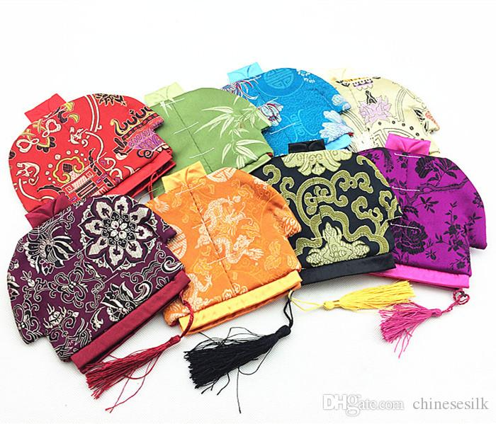 Vintage Chinese Clothes Small Coin Purse Jewelry Zip Bags Tassel Storage Pack Silk Brocade Craft Gift Packaging Pouch