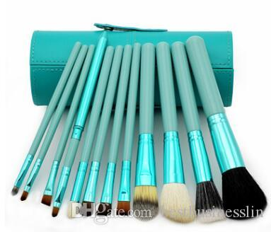 Makeup Brush Set Drum Make-up Brushes Portable Natural Handle Beauty Tools Cosmetic Brush With Leather Cylinder Cup Holder