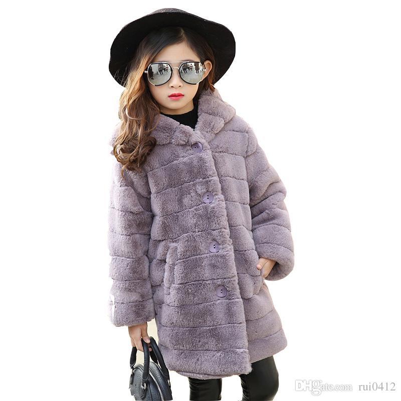 e54287e94cda 2017 Baby Girl Winter Warm Faux Fur Coat Kids Cute Hooded Thick ...