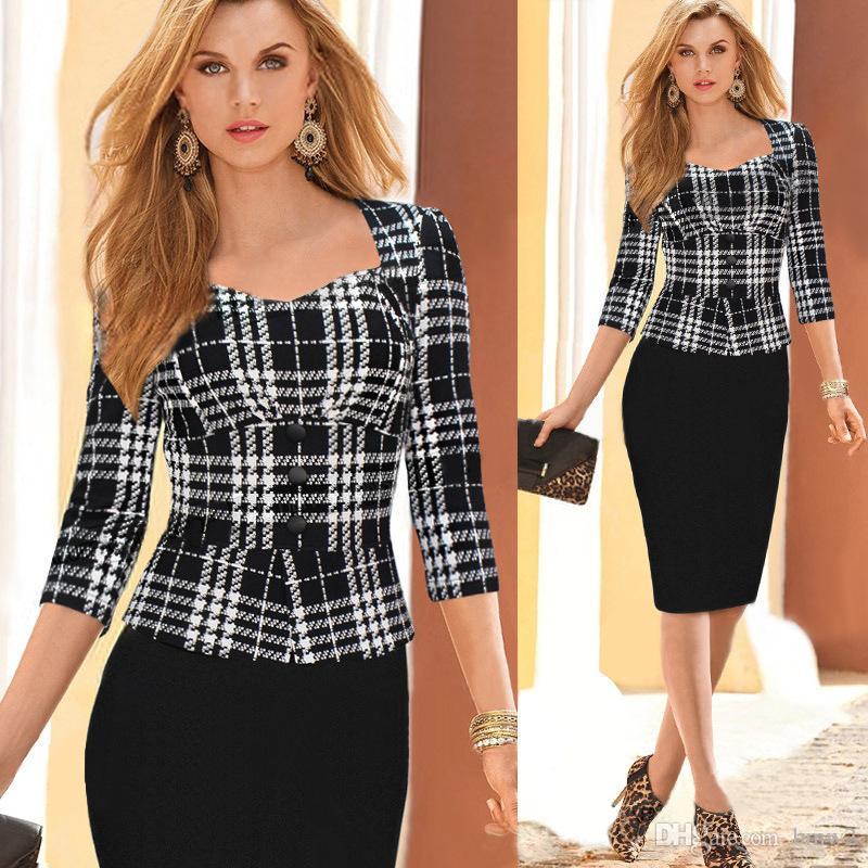 2021 Spring Fall Women Work Dresses 3 4 Long Sleeve Plaid False Two Piece Peplum Ol Wear To Work 2020 Pencil Dress Party Zj1176 From Bmw2 21 72 Dhgate Com