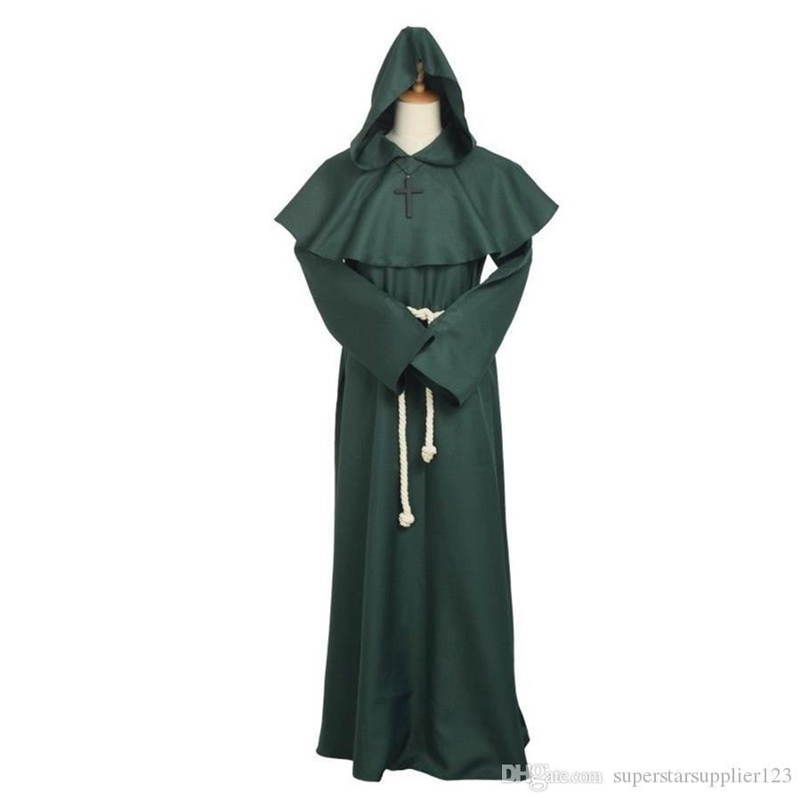 Costume da Frate medievale Vintage Renaissance Priest Monk Cowl Robes Abiti Cosplay con croce Collana uomo adulto Regali