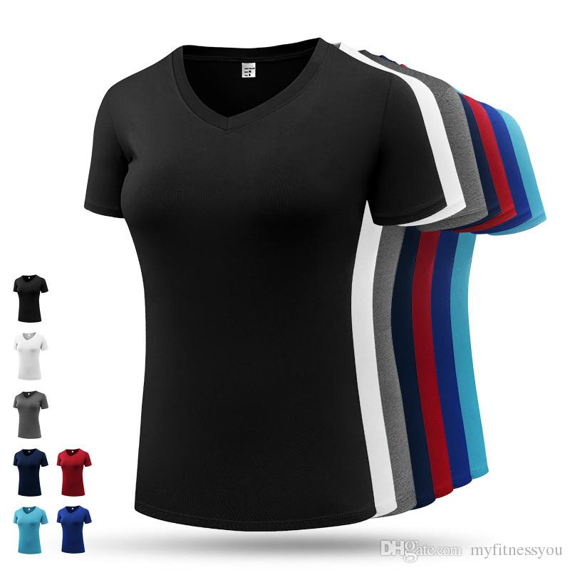 New Sports T Shirt Women's Sportswear Blouses Short Sleeves V Neck Compression Gym Shirt for Women Fitness Running Athletic Exercise Shirt