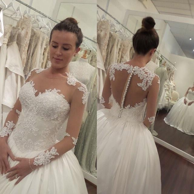 Discount Simple Elegant Open Back Long Sleeve Wedding: 2016 Sheer Long Sleeves Ball Gown Wedding Dresses Lace