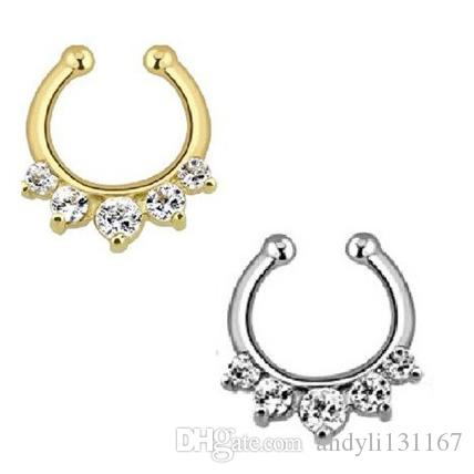 taboo style gold and silver nose rings and studs screws crystal clip non piercing fake nose ring N0007