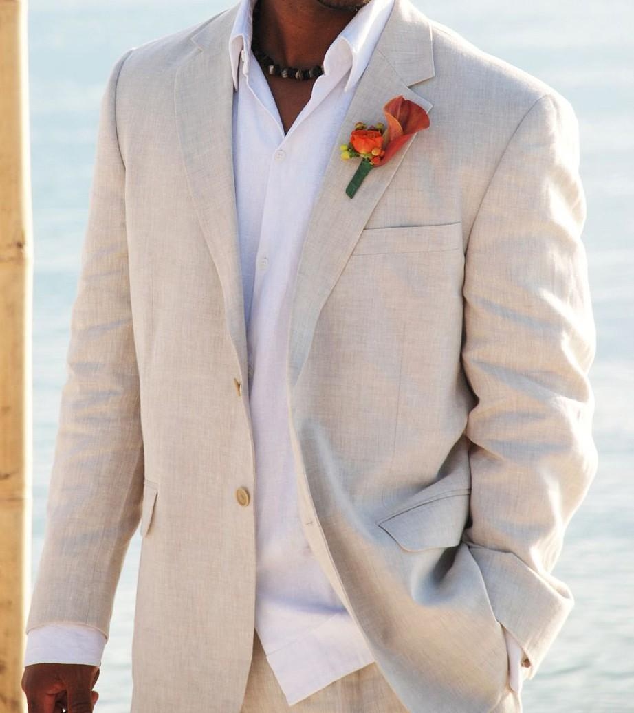 도매 - 간단한 리넨 정장 노치 옷깃 남자 웨딩 정장 grooms 턱시도 2 조각 남성 정장 슬림 맞는 비치 Groomsmen 정장 자켓 + 바지
