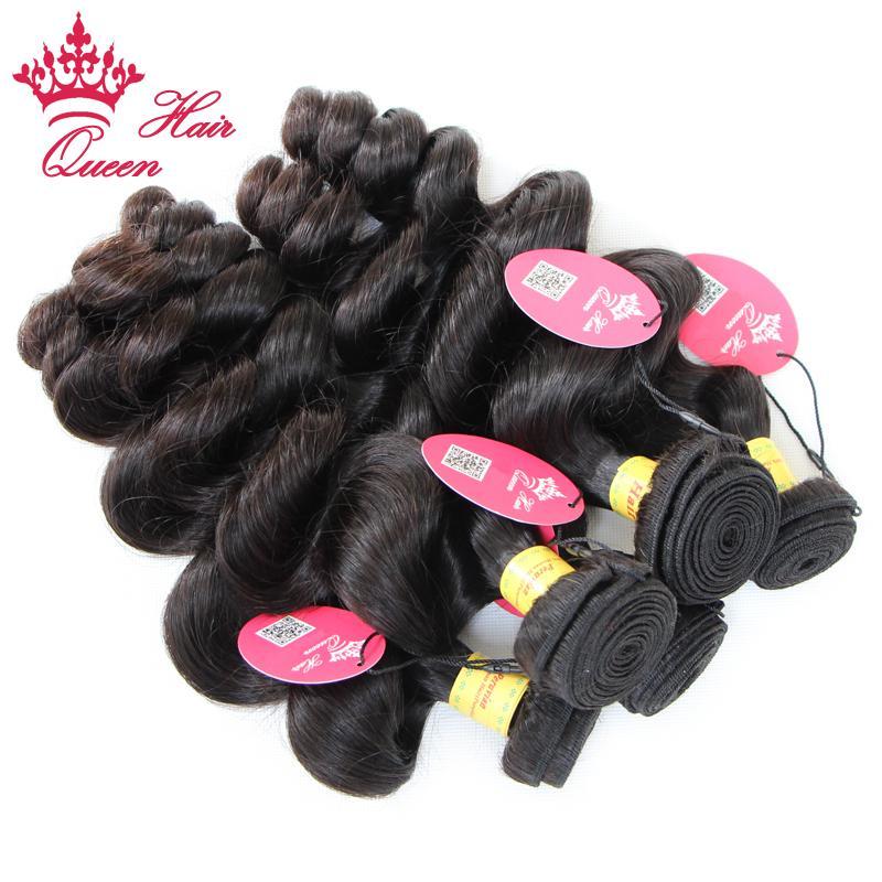 クイーンヘアー製品ペルー髪緩い波4個/ロット自然色100%人間の髪工場価格DHLの配送