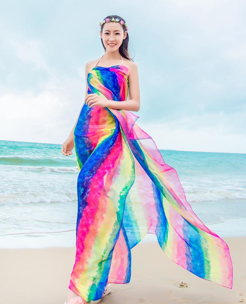 Sommer Schal Frauen 150 * 180 cm Lange Pareo Schals Gestreiften Regenbogen Druck Chiffon Hijab Bikini Vertuschen Strand Sarongs Wrap