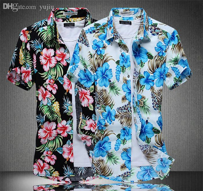 65b8b9191c7a 2019 Wholesale Striped Shirt Men Print Folwer Plus Size Men Shirt Hawaiian  Shirt Floral Shirts Men Cheap Clothes China Short Sleeve Lz701 From Yujiu,  ...