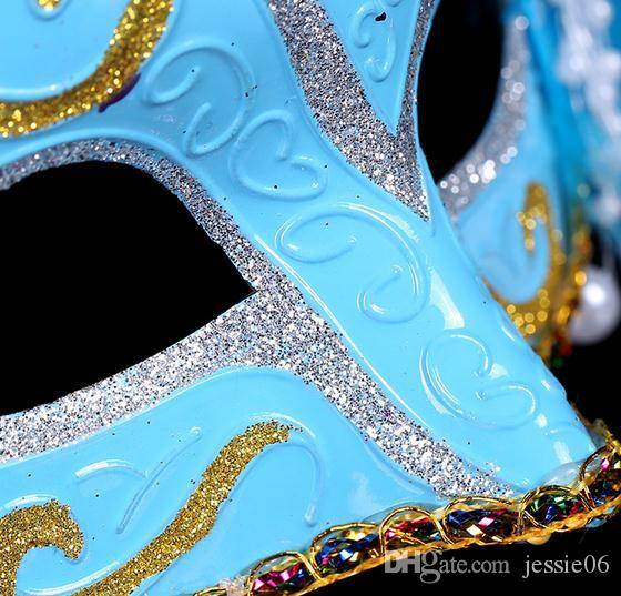 Gekleurde tekening veer gem paro masker mode vrouwen halloween mardi gras carnaval Pasen kerstfeest kostuum masker drop shipping