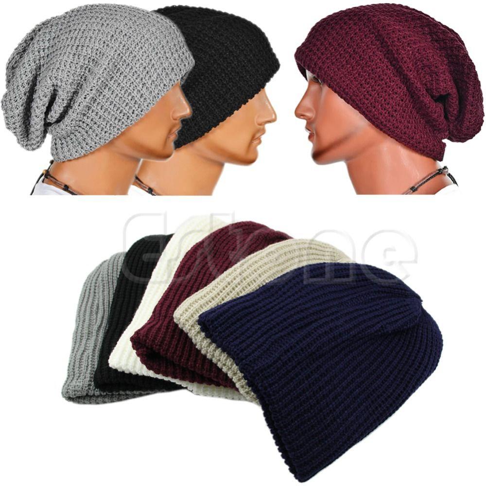 d85b2b46558 Wholesale Chic Men Women Unisex Warm Oversize Beanie Cap Skull Winter  Slouchy Knit Ski Hat Crochet Beanie Beanies For Girls From Gocan