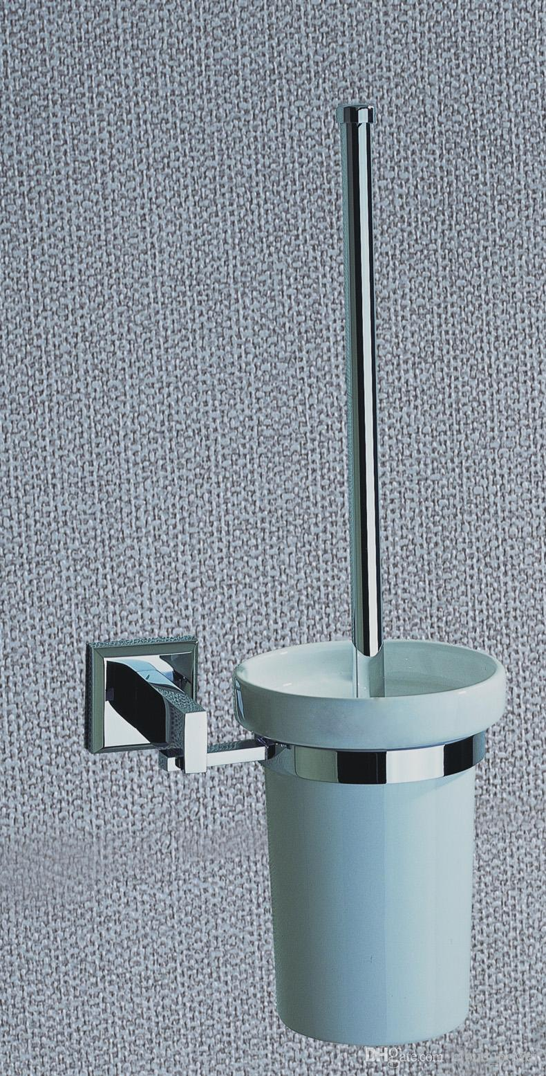 2017 chrome plated brass toilet brush holder with ceramic - Chrome plated brass bathroom accessories ...