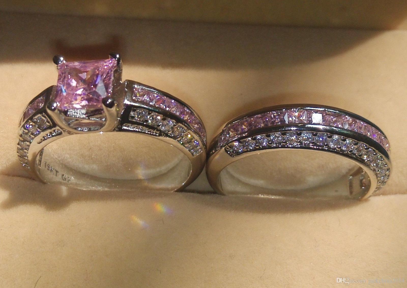 Boyutu 5-10 Toptan Moda Takı 10kt Beyaz Altın Dolgulu Prenses Kesim Pembe Safir Taşlar Kadınlar Düğün Gelin çift Yüzük Seti Hediye