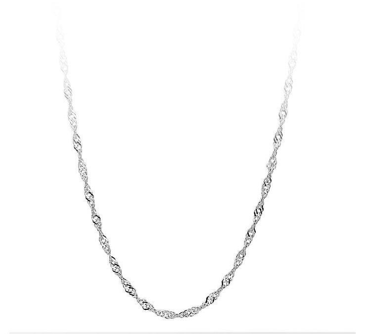 Top Verkauf 925 Sterling Silber Hochzeit Halskette Wasser Wellenkette Halskette Anhänger Frauen Silber Kette Halskette Feine Schmuck Großhandel