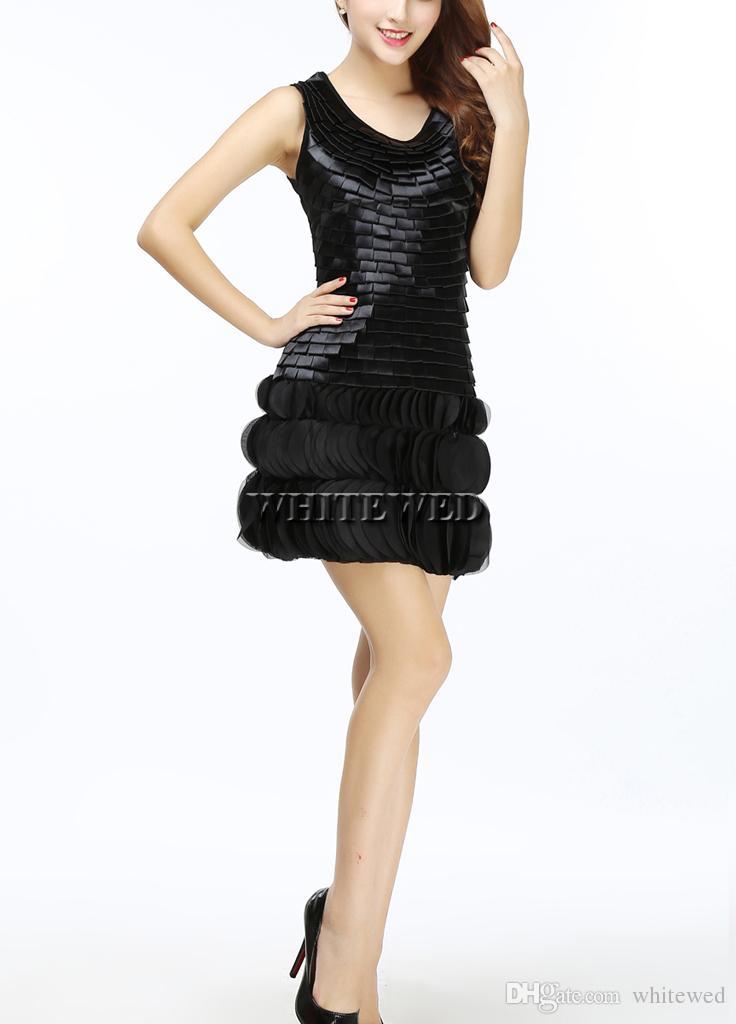 2015 Yeni Siyah Scoop Tank Top Zırh Art Deco 1920'S Gatsby Inspired Sineklik Parti Elbise Giyim Kostümleri Kıyafet Petal Hem Kadınlar Altında 50 $