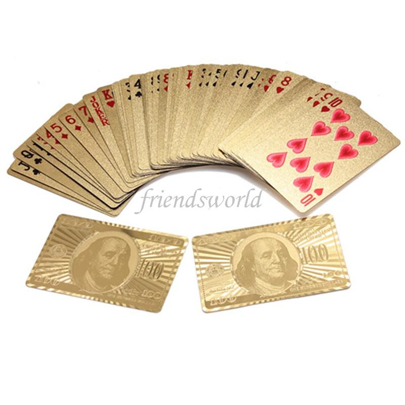 Gold foil plated playing cards Plastic Poker US dollar / Euro Style and General style With Certificate