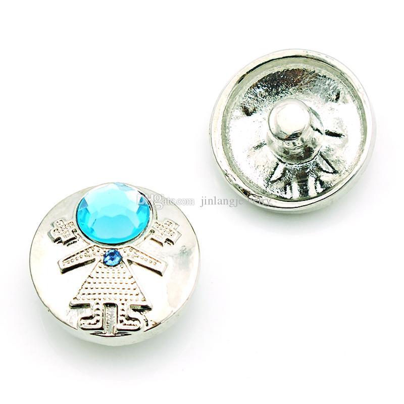 Moda Noosa 18mm Botões de Pressão Encantos Azul Cristal Pessoas Liga Fechos Intercambiáveis DIY Pulseiras Jóias Acessórios NKC0055