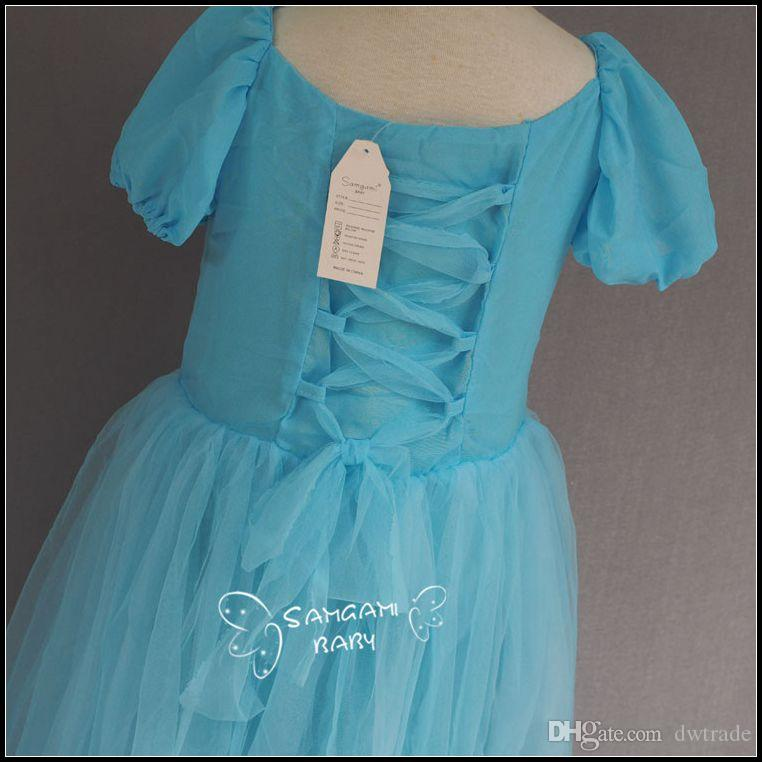 2015 girls swallow tailed short sleeve princess dresses kids girl floor length puff sleeve Cinderella party lace dress J072801#