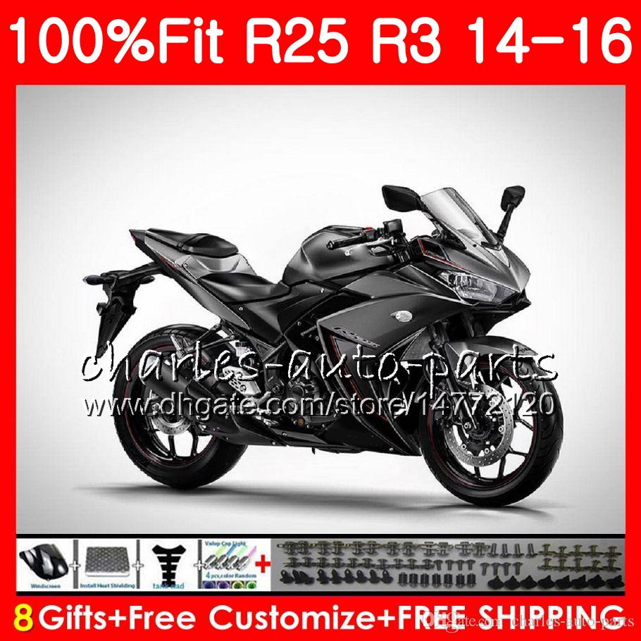 Injection Body For YAMAHA YZF R 3 YZF-R3 YZF-R25 R25 14 15 16 Stock black Cowling 83NO14 R 3 YZFR3 YZFR25 R 25 R3 2014 2015 2016 Fairing Kit