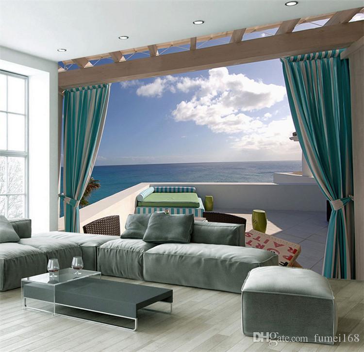 Großhandel Benutzerdefinierte Mural 3d Wallpaper Seaside Terrasse ...