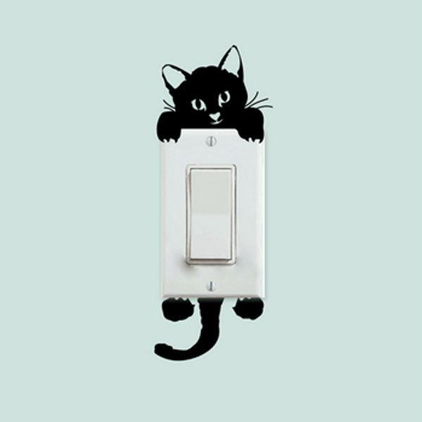 Morden Wallpaper Diy Funny Cute Cat Switch Stickers Wall Stickers Home  Decoration Bedroom Parlor Posters White Black Removable Large Childrens Wall  Stickers ... Part 41