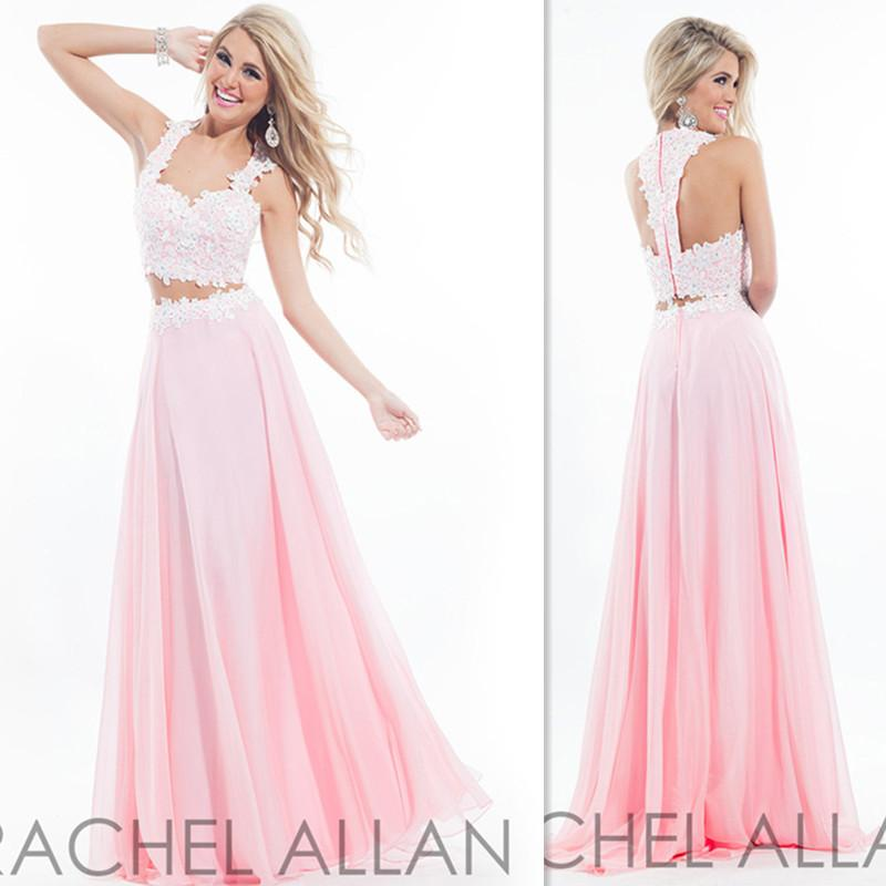 a6dbf97ea87c Sweet 16 Dresses 2 Two Pieces Prom Gowns Light Pink Chiffon Appliques Lace  Long Vintage Evening Party Dress For Girls RACHELALLAN New Style Sexy Prom  ...