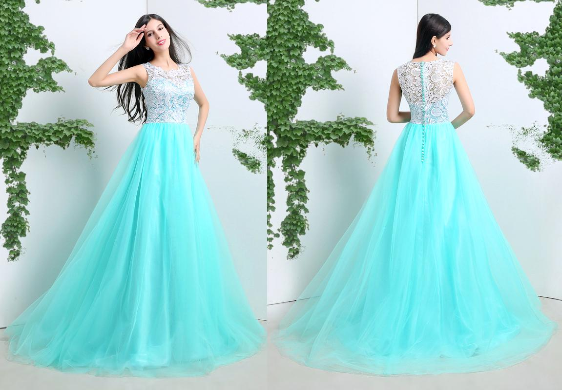 In Stock Long Prom Dresses With Scoop Neck Lace Top Buttons Zipper ...