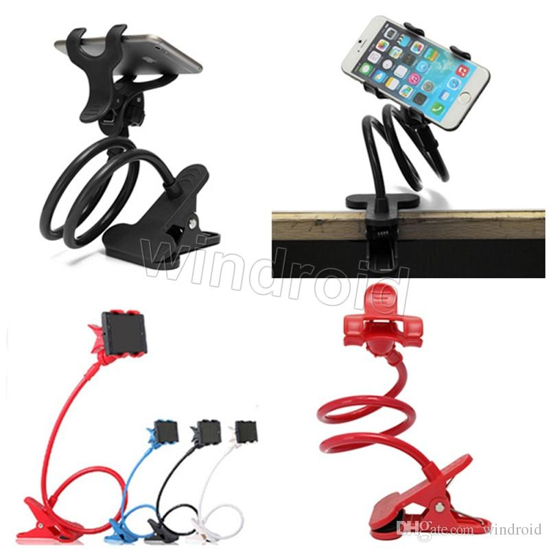 Long Arm Universal Two Clips Moblie Phone Holder Bed Desktop Moblie Stand 80 cm Flexible Extendable Lazy Bracket 360 degree
