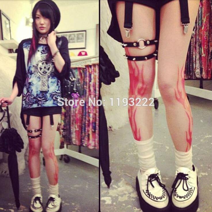 Sexy Fashion Punk Rock Rivets Studs Bullet O Round Leather Leg Garter BELT Elastic Back Adjustable LOOP RING Suspenders