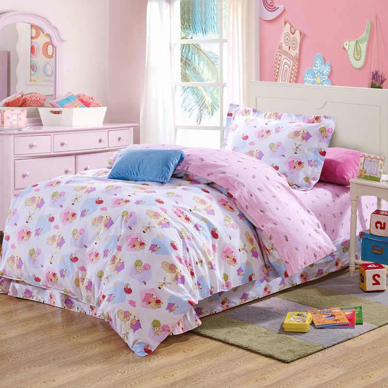 cartoon sheep mushroom pink bedding bed linens 100 cotton twin reversible duvet cover lace flat sheet comforter sets 3for girls bedding for sale pink