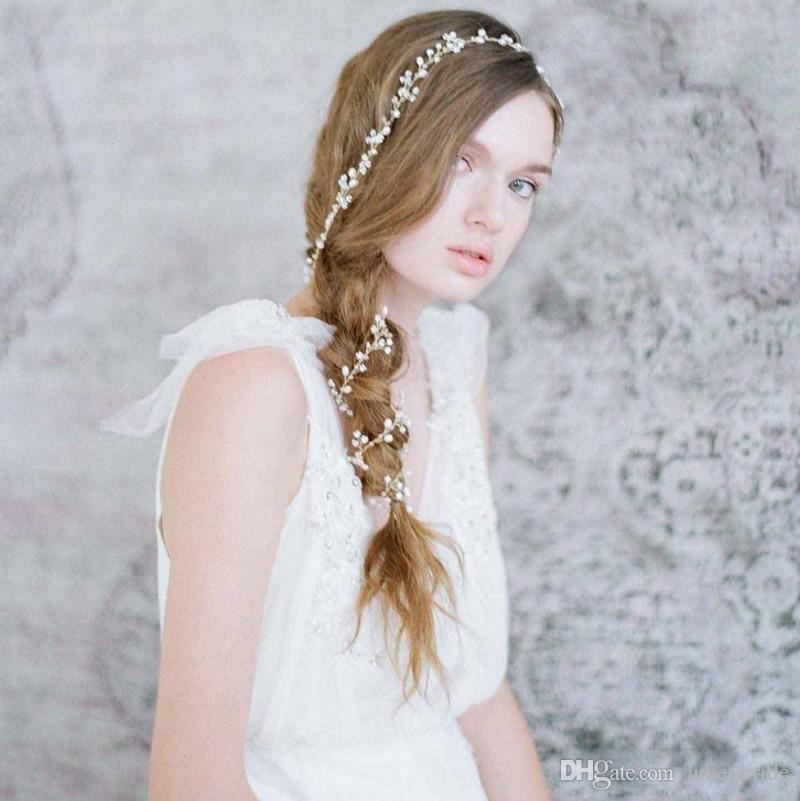Hot Sall Long Hair Chain Handmade Pearls Bridal Hair Accessories Custom Made 1M Headband Wedding Hair Sash Belt Bridal Accesorios Headpieces