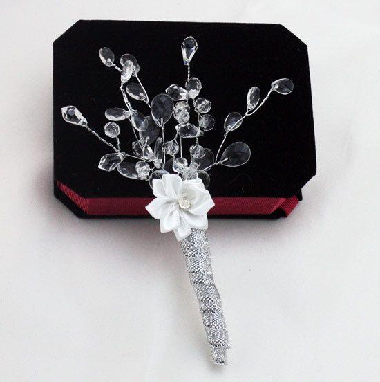 Rhinestone de la bodas de plata simple Novio Ojal hombre de partido novio Ramillete de baile broche Decoraciones hombres se adaptan Accesorios barato
