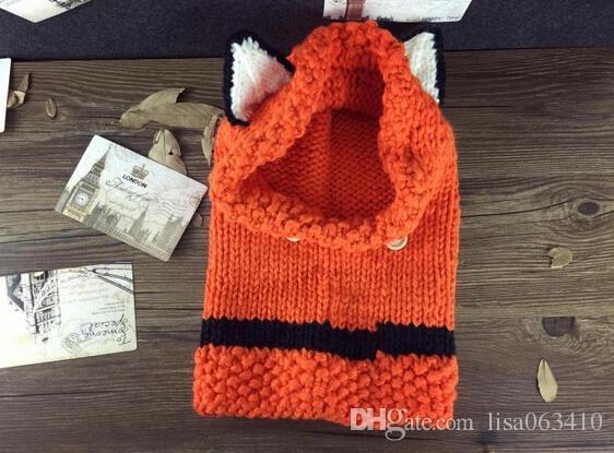 Lovely Handmade Kinder Hut Fox Hüte mit Schals Häkeln Mädchen gestrickt Tier Hut Schals