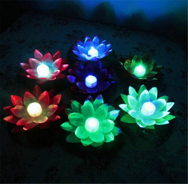 Nowy Dojazd Średnica 19 CM LED Lotos Lampa w Kolorowe Zmienione Pływające Basen Wody Wishing Light Lampy Latarnie na Dekoracji Party