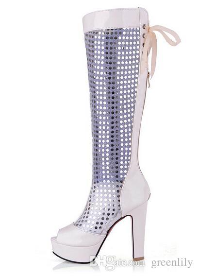 Новое прибытие женщины блесток свадебные туфли на высоком каблуке марлевые Peep Toe-shape сандалии ленты летние загрузки размер США 4-8