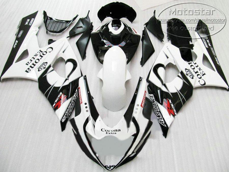 Personnaliser les pièces de moto pour SUZUKI GSXR1000 2005 2006 kit de carénage K5 K6 05 06 GSXR 1000 blanc noir Corona ABS jeu de carénage EF49