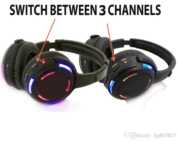 Professional Silent Disco Headphones with 3 Channels Bargain Wireless System For iPod MP3 DJ Music 30 Receivers + 3 TX