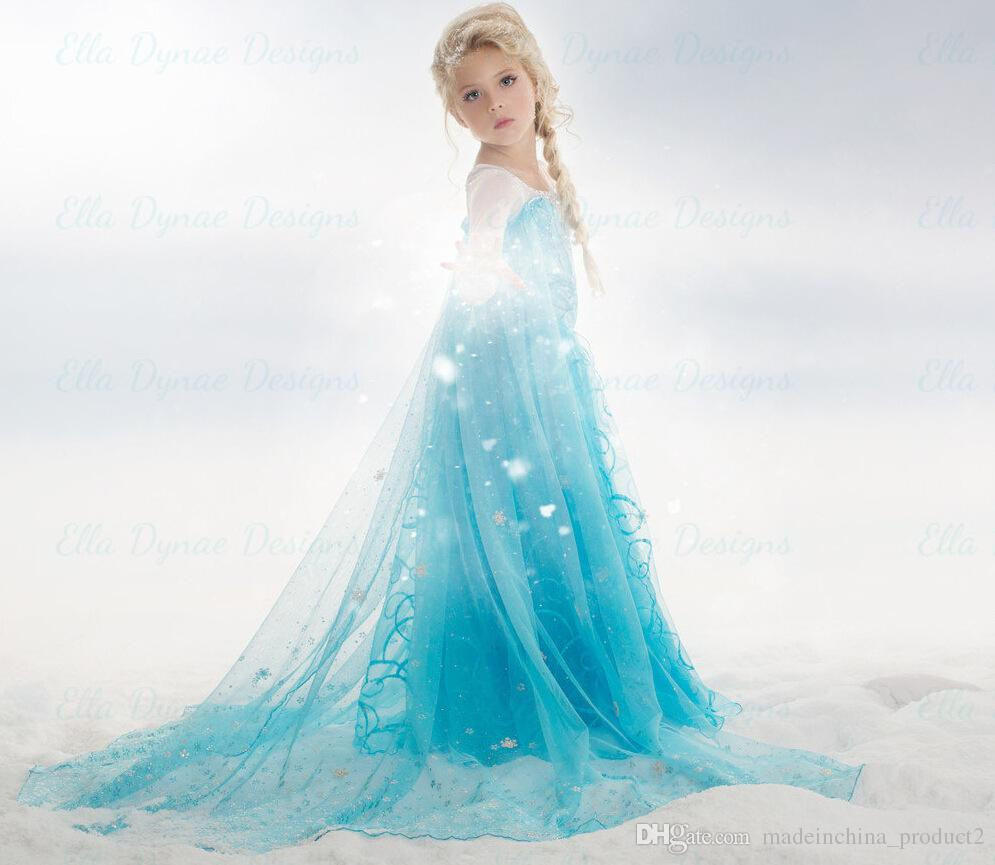 Elsa Queen Girls Dress Long Sleeve Princess Frozen Christmas Party ...